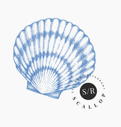 scallop hand drawn seafood engraved style vector image