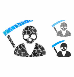 Scytheman mosaic icon irregular pieces vector
