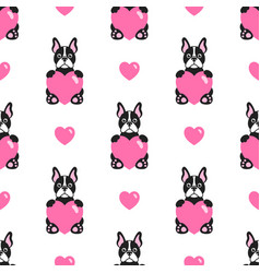seamless pattern with cute bulldogs and hearts vector image