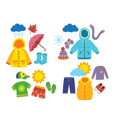 Set childrens season clothes vector