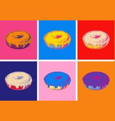 Set donuts pop art style vector