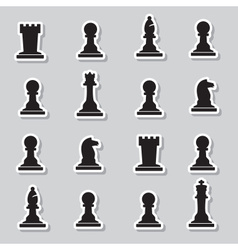 set of black chess pieces stickers eps10 vector image