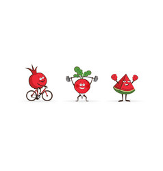set of fruits and vegetables doing sport vector image