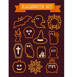 Set of halloween silhouette icons vector