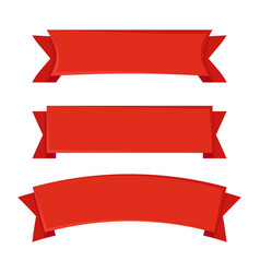 Set of red ribbons on white background vector
