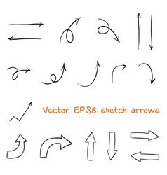 Set of sketched arrows vector