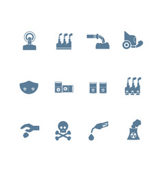 Set of smog pollution icon flat design vector