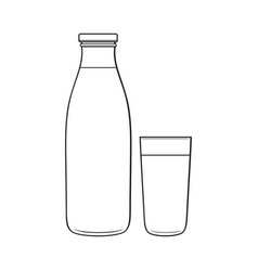 Side view drawing of bottle and glass with liquid vector