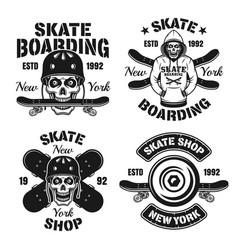 Skateboarding extreme sport set emblems vector