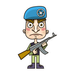 soldier and rifle on his shoulder warrior with vector image
