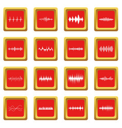 Sound wave icons set red vector