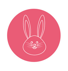 Sticker happy rabbit cartoon design vector