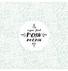 Stock raw vegan label and frame with pattern vector image