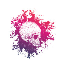 T-shirt print with skull on white vector