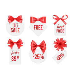 tags with ribbons promo badges with red and vector image