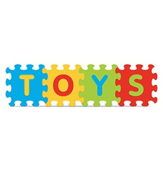 Toys written with alphabet puzzle vector