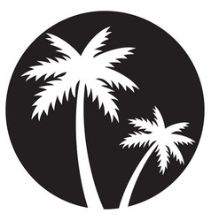 two palm trees silhouette vector image