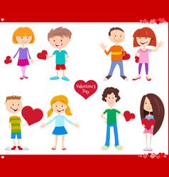 Valentines day holiday cartoon love set vector