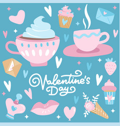 valentines day set with love elements heart vector image