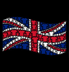 waving great britain flag pattern of t-shirt items vector image