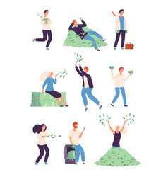 wealthy people rich happy persons with money vector image