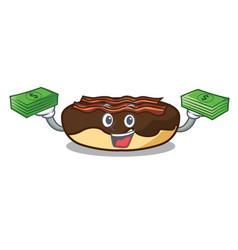 with money bag maple bacon bar mascot cartoon vector image
