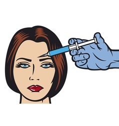 woman receiving a botox injection in forehead vector image
