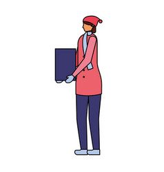 woman with winter clothes and gift vector image