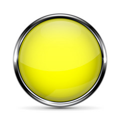Yellow round button with metal frame vector