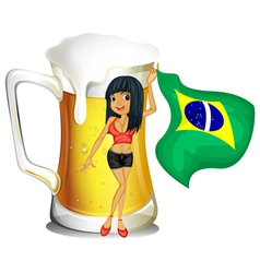 A big mug of beer with a brazilian lady vector image vector image
