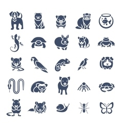Animals pets flat silhouette icons set vector image