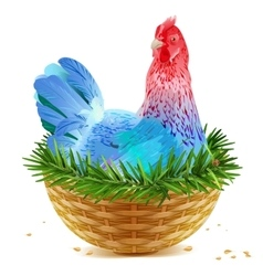 Blue Christmas chicken laying hen symbol of 2017 vector image vector image