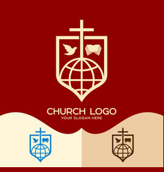 cross of jesus the bible the dove and the globe vector image vector image