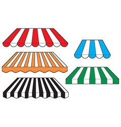 Striped awnings vector image vector image