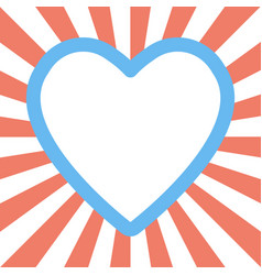 valentine day heart shape on sunburst background vector image