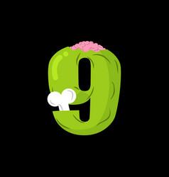 number 9 zombie monster font nine bones and vector image