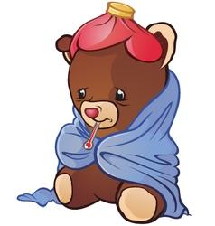 Sick Teddy Bear Cartoon Character vector image