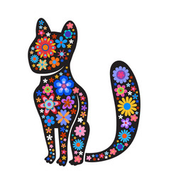 silhouette of cat with naive style colorful vector image
