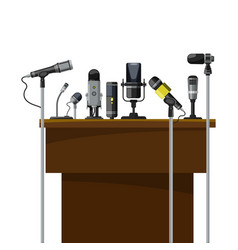 tribune for speakers and different microphones vector image