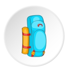 Blue tourist backpack with mat icon cartoon style vector