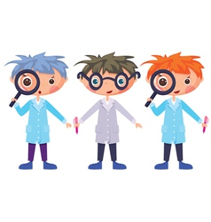 cartoon scientists and magnifying glass eps10 cont vector image