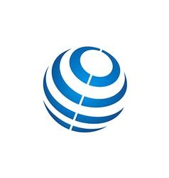 globe sphere stripe communication technology logo vector image vector image