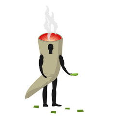 joint or spliff man mascot promoter male in suit vector image