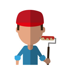 Large surface painter with paint roller icon image vector