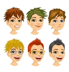 set of boy avatar with different hairstyles vector image vector image