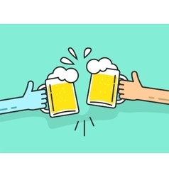 Two abstract hands holding beer glasses with foam vector image
