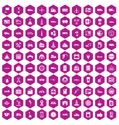 100 gas station icons hexagon violet vector