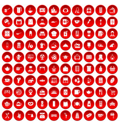 100 kitchen utensils icons set red vector