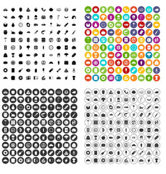 100 meal icons set variant vector image