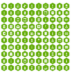 100 packaging icons hexagon green vector
